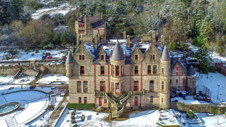 Belfast Castle in the winter snow