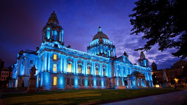 Belfast City Hall Lit Up at Night