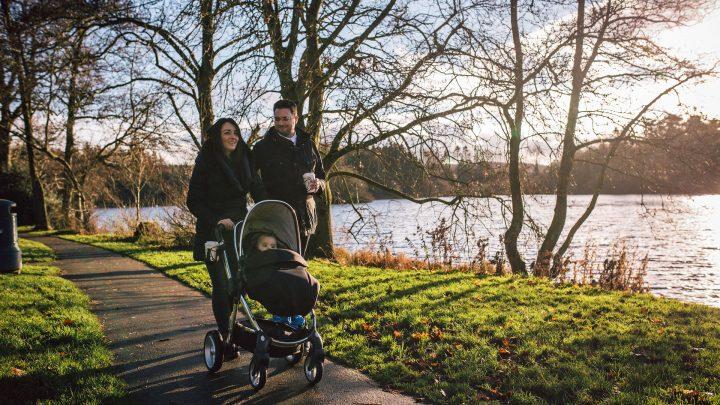 Family walking through Hillsborough Forest