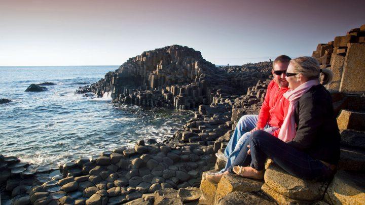 Tourists enjoying The Giant's Causeway
