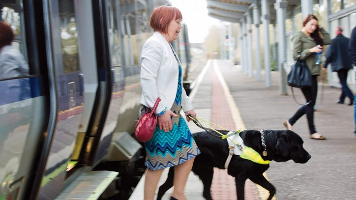 Women with Guide Dog using Translink Train
