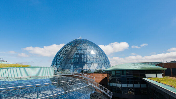 blue skies at the dome at victoria square